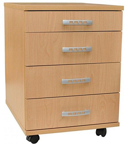 AISEN B1007B Rollcontainer, Holzwerkstoff, Buche Dekor, 50 x 41.5 x 57cm