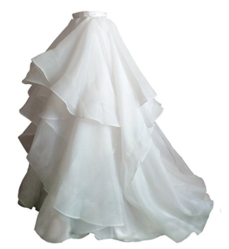 Izanoy Damen Lange Retro Maxi Organza Rock Brautkleider Unterrock Überrock Weiß Large