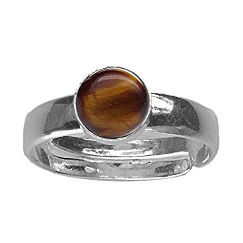 6mm Round Genuine Tiger's Eye Cabochon 925 Sterling Silver Adjustable / Expandable Ring