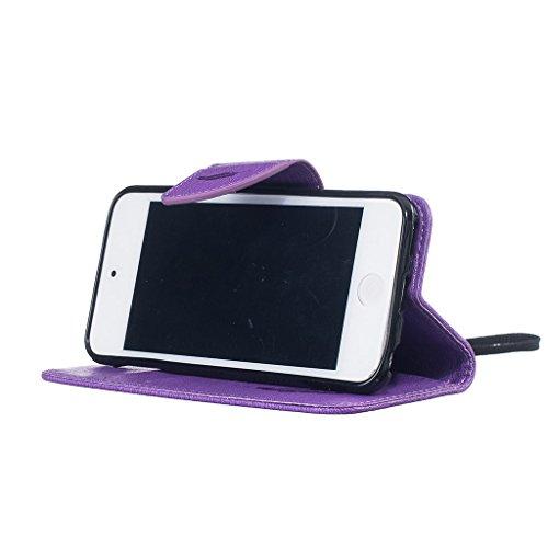 CareyNoce iPhone SE/5S/5 Coque,Arbre Plume Pissenlit Fleur Retro Painted Embossed Pattern Conception Flip Housse Etui Cuir PU Coque pour Apple iPhone SE iPhone 5S iPhone 5 (4.0 pouces) -- Gris Plume T36