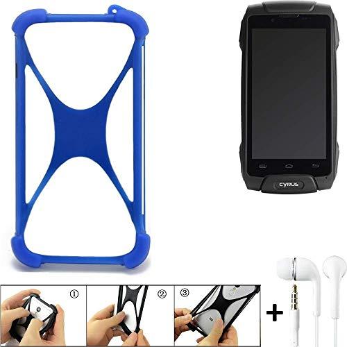 K-S-Trade Handyhülle für Cyrus CS 30 Bumper Schutzhülle Silikon Schutz Hülle Cover Case Silikoncase Silikonbumper TPU Softcase Smartphone, Blau (1x), Headphones