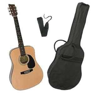 MSA CW 200 Westerngitarre inkl. Tasche/ Band/Imbus/gekapselte Einzelmechanik/integrierter Stahlstab/Neusilberbünde Größe 4/4, natur