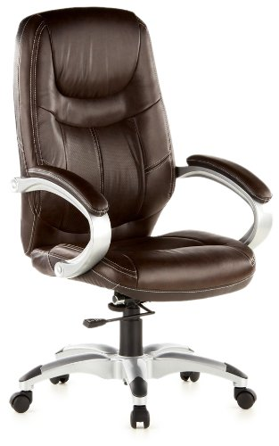 hjh OFFICE, 668100, Executive Chair, office chair, swivel, TRITON 100, brown, faux leather, high ergonomic thick padded backrest and seat, padded armrests, relining mechanism, elegant, stylish computer desk chair, synthetic designer base silver