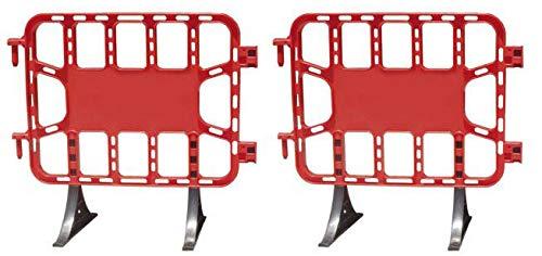 Valla de plástico roja peatonal obra, valla reforzada con patas extraíbles de 1 metro (2- Vallas)