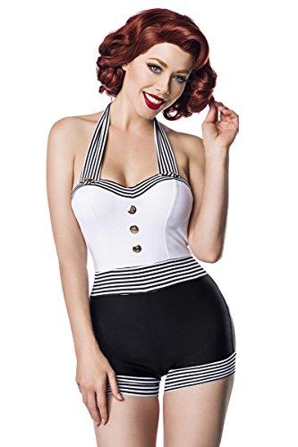 Sexy Vintage Badeanzug Retro Look Muster Schwarz Weiß Pin Up Stil Rockabilly 50s, Farbe:Schwarz/Weiß;Größe:L