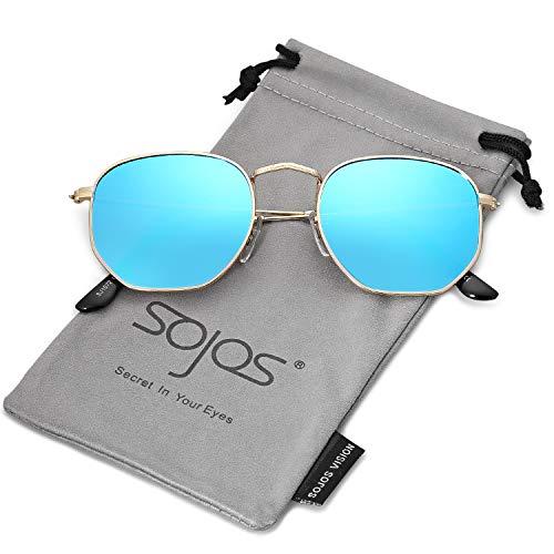 SOJOS Mode Polygon Sonnenbrille Damen Herren Verspiegelte Polarisiert Linse Leichte Unisex Brille SJ1072 mit Gold Rahmen/Blau Linse