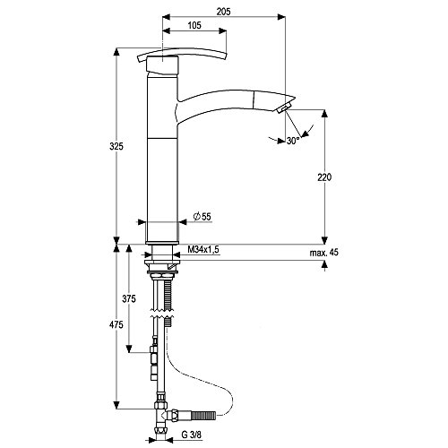 Fitting Single-Lever Mixer Tap Low Pressure with Pull Out Plug Athena Chromium/Fitting/Heinrich-Schulte/Water Tap/Single-Lever - Mixer