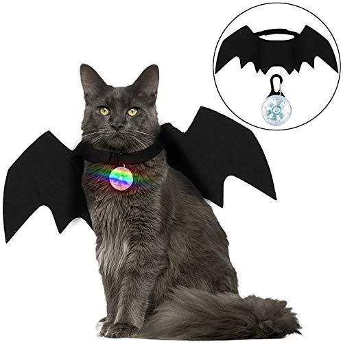 Legendog Halloween Katze Kleidung, Fledermaus Flügel Cosplay Katze Hund Kostüm mit Haustier Kragen Licht