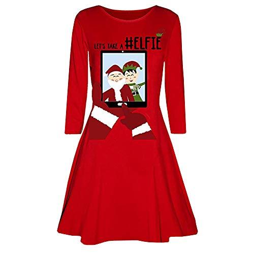 VEMOW 2018 Elegante Damen Abendkleid Weihnachtsfeier Cocktailkleid Kleid Gedruckt Langarm Abend Abschlussball Kostüm Täglichen Schaukel Kleid(X1-Rot, EU-36/CN-S)