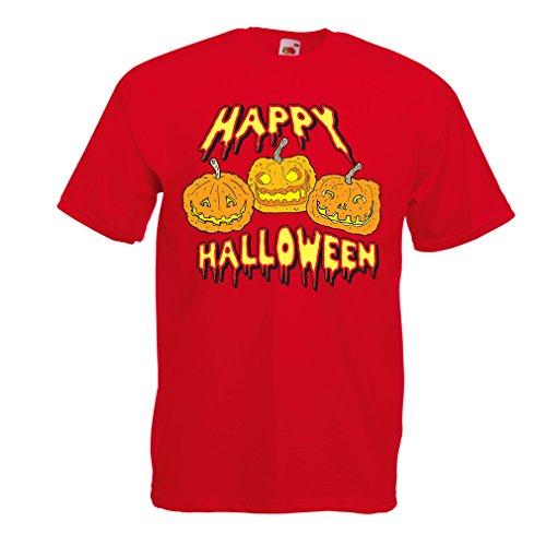 N4637 Männer T-Shirt Happy Halloween! (Medium Rot (Ideen Kostüm Of The Dead Dawn)