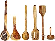 PEBBLE CRAFTS Handmade Wooden Cooking Spoons and Serving Spoon Set of 5 with Free Masher | Non Stick Kitchen U