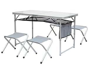 table pliante avec 4 tabourets pliants plus rangement le tout se range dans une valise de. Black Bedroom Furniture Sets. Home Design Ideas