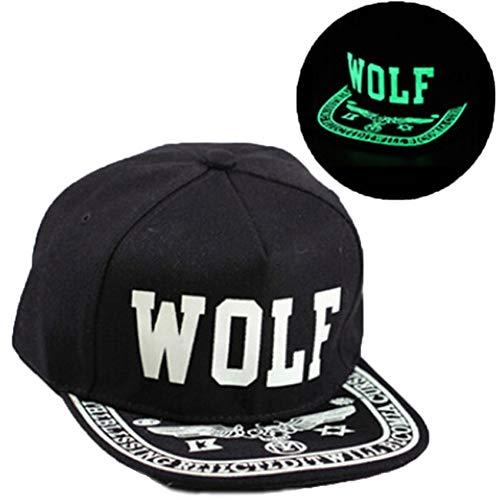 BQMO Männer Frauen Glow In The Dark Hat Drucken Wolf Hysteresenhüte Einstellbare Hip Hop Fluoreszierende Baseballmütze (Hats Glow In Dark The)