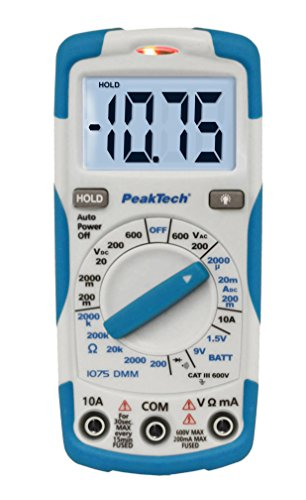 PeakTech 1075 - RMS Digitales Multimeter NCV Cat III mit Beleuchtetem LCD-Display, Batterietester, Handmultimeter, Elektronisches Strom Messgerät, Durchgangsprüfer, Spannungsmesser - Max. 600 V Digital-multimeter Cat