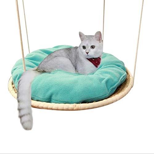 TQ Hand Stricken runde Katze Hängematte Bett Stroh und Baumwolltuch Katze hängende Betten Haustier Sunny Seat Hund Bequeme Matten Kissen -