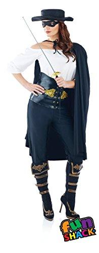 Damen Erwachsene Spaß Shack Maskiertes Spanisch Bandit Zorro Kostüm Kleidung Größe 40-42 (Zorro Handschuhe)