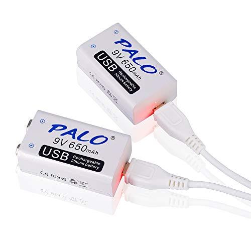 PALO - Baterías recargables 9V USB / Li-ion / 2 unidades / 650mAh