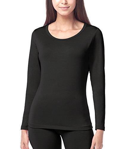 LAPASA Donna Maglia Termica - Ti Tiene al Caldo Senza Stress- T-Shirt Invernale Maniche Lunghe L15 (M(Seno 86-92/ Manica 54 cm), Nero)