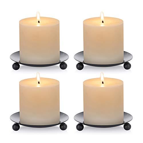 Nuptio Stück von 4 Eisen Kerzenplatte Stumpenkerzenhalter, Schwarz, Dekorative Eisen Kerzenplatte, 11cm Durchmesser Sockel Kerzenständer für LED & Wachskerzen, Räucherkerzen, Spa, Hochzeiten