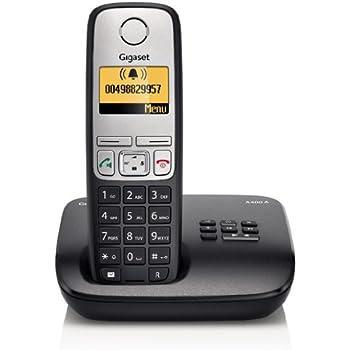 Gigaset A400A Dect-Schnurlostelefon mit Anrufbeantworter, schwarz