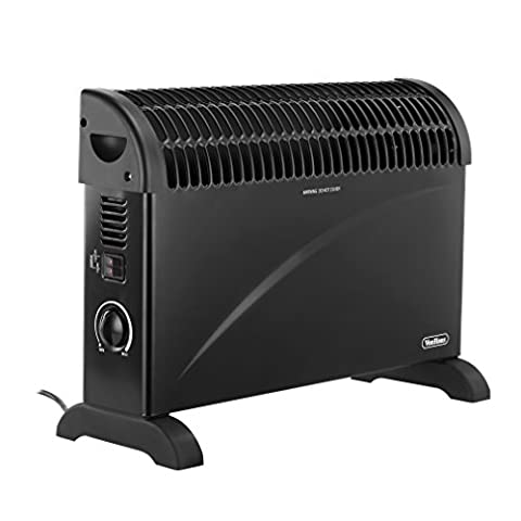 VonHaus Convector Heater 2000W Black – With Thermostat & 3 Heat Settings – Wall Mountable or Free Standing with Safety Thermal Cut Off feature