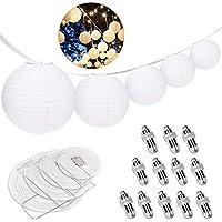 Ozuar - Juego de 24 faroles de papel blanco (12 piezas, 12 unidades), diseño de bola decorativa, color blanco cálido, 4 tamaños surtidos para fiestas, festivales de boda