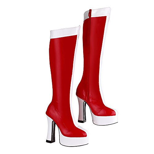 Fancy Dress 80s 90s Red & White Super Held GoGo Retro Mädchen Stiefel (Boots Wonder Womens Woman)