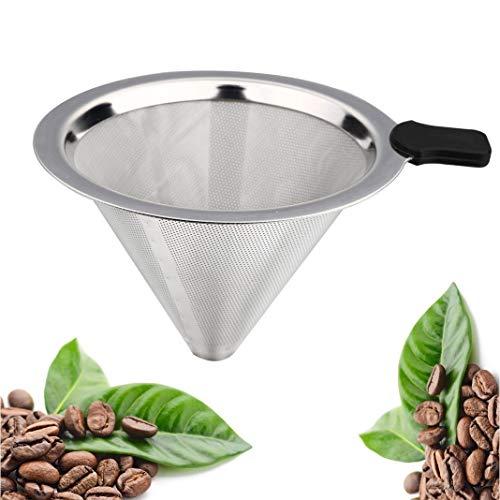 Kaffeefilter aus Edelstahl, kegelförmig, papierlos und wiederverwendbar, permanentes Ausgießen...