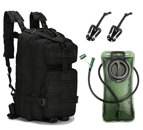 Militär Rucksack mit Trinkblase Set (Schwarz, 25L) (Sport Wasser Rucksack)
