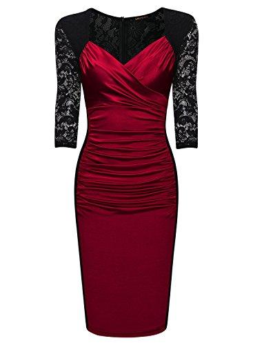 Miusol Femme 3 / 4 de Manche Plissee Vintage Decontracte Robe Rouge
