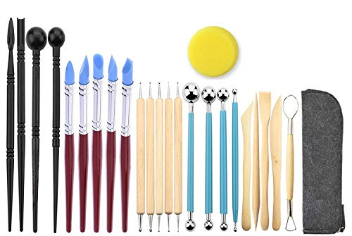 Ball Stylus Dotting Silicone Sculpting Kit - Jaybva Polymer Clay Sculptures  Tools Rubber Tip Pens for Pottery Rock Painting Ceramics Doll Modeling