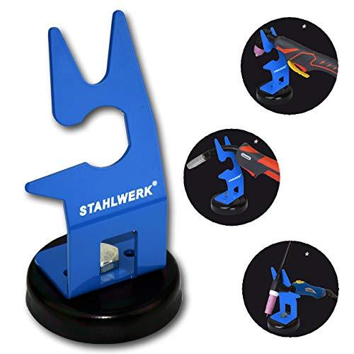 STAHLWERK Schweißbrenner-Halterung mit magnetischem Standfuß, universeler Brennerhalter für WIG, MIG und PLASMA, blau