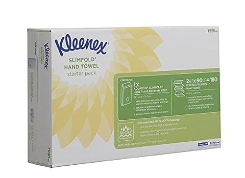 Kleenex 7996 Pack de Lancement, Slimfold pour La Distribution D'Essuie-Mains, 1Distributeur et 2Paquets D'Essuie-Mains Slimfold (Pack de 2)