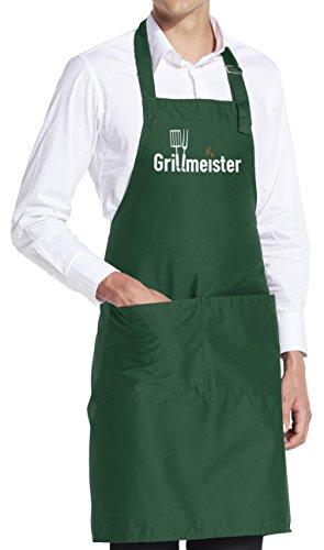 vanVerden Schürze Grillmeister BBQ Grill Garten Fun Grillschürze inkl. Geschenkkarte, Farbe:Bottle Green (Grün)