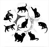 Set von 8Katze Silhouette Keramik Knöpfe von französischen Möbel Schrank Armaturen–Küche Knöpfe, Möbel Schublade Griffe–Porzellan-Katzen–einfach zu installieren, schwarz und weiß–38mm