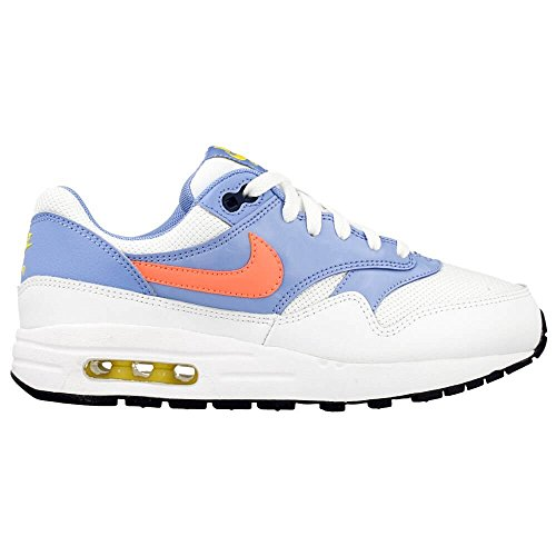 Nike Air Max 1 (Gs), Baskets Basses Fille Blanco / Amarillo / Azul (White / Brght Mango-Chlk Bl-Cnry)