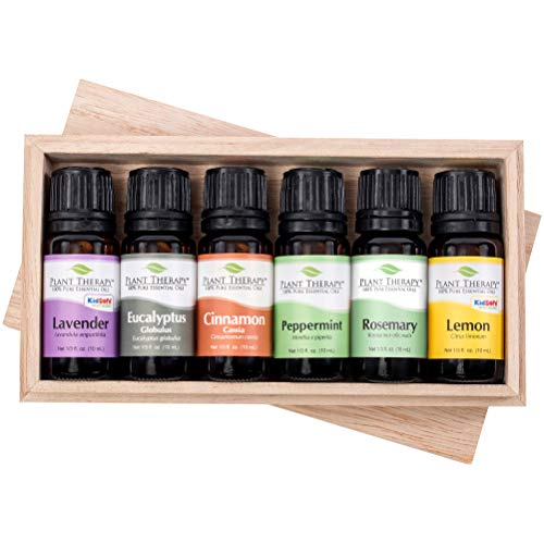 Essential oil sampler gift set in box (set #4). 6 Oils- Includes 100% Pure, Undiluted, Therapeutic Grade Essential Oils of Lavender, Eucalyptus, Cinnamon Cassia, Peppermint, Rosemary and Lemon. 10 ml each. by Plant Therapy Essential Oils - Rock Rose Dropper