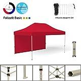 Vispronet Faltpavillon Faltzelt Pavillon Klappzelt Basic 3 x 4,5 m, Rot (1 Zeltwand) - Weitere Farben und Größen erhältlich