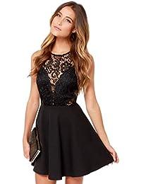TUDUZ 2018 Newest Fashion Elegant Women Summer Casual Backless Prom Cocktail Swing Evening Dresses Lace Stitching Short Mini Dress