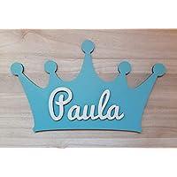 Placa corona de madera personalizada con nombre. Varios colores disponibles.