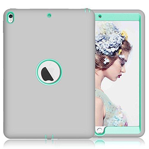 topbin Apple iPad Pro. 10.5Fall, Neue iPad Pro. 26,7cm 2017Fall, [3in 1] Slim Kratzfest Hartschale Schutzhülle Dual Layer bchiea Schutzhülle für iPad Pro. 26,7cm (2017), Grey+Aqua (2 Dollar I Phone 6 Fällen)