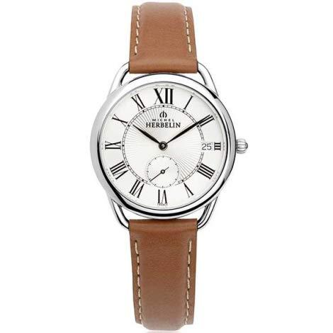 Michel Herbelin Damen Analog Quarz Uhr mit Echtes Leder Armband 18397/08GO