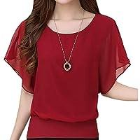 flywinner Women All-match Chiffon Blouse O-Neck Plus Size Short-Sleeve Tops T Shirt Wine Red Small