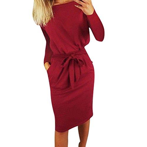 Kleid Sommer Kleid mit Tasche Damen Kurzarm Abendkleid Partykleid Minikleid Midikleid Strandkleid Retro Vintage Elegant Rundhals Kleid Sport Kleid (M, Wein B) ()