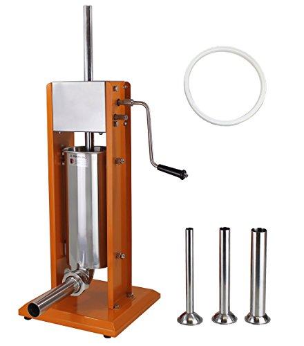 Profi Wurstfüllmaschine (5 Liter Volumen) aus lackiertem Stahl, Wurstfüller mit 2 Gang Getriebe, Handkurbel und Entlüftungsventil, inkl. 4 Edelstahl Fülltüllen (16, 22, 32 und 38 mm Ø)