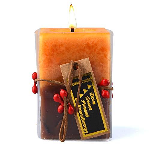 KOOPAN Velas Perfumadas Set de Velas de Aromaterapia 2 Piezas Vela Aroma En Vidrio para la Aromaterapia de Relajación El Alivio del Estrés Naranja
