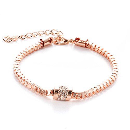Hosaire 1 X Bracciale Donna di Diamante Oro Rosa regali per le donne accessori per la gioielleria braccialetti bambine in Stile Vintage regolabile 23 cm