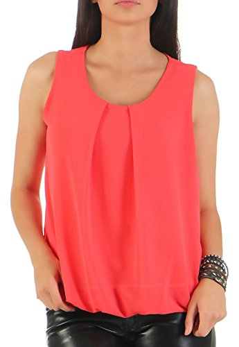 Malito Damen Bluse ärmellos | Tunika mit Rundhals | leichtes Blusenshirt | Elegant - Shirt 6879 (Coral)