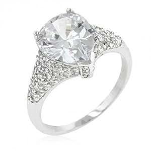 ISADY - Charlene inspiriert - Damen Ring - 14 Karat (585) Weißgold platiert rhodiniert - Zirkonium Transparent - T 62 (19.7)