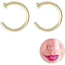 Tinksky 2 piezas de acero de titanio quirúrgico unisex abierto anillo de nariz aro perno piercing 8 mm (de oro)